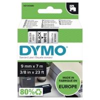 Cinta autoadhesiva DYMO D1 para rotuladora. Letra negra/fondo blanco. 9mm