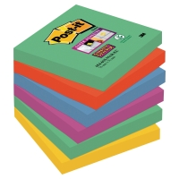 LOT DE 6 BLOCS POST-IT SUPER STICKY 76X76 90 FEUILLES MARRAKESH