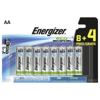 Energizer eco advanced alkaline batteries AA - le paquet de 8+4 gratuite