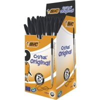 BIC CRISTAL BALL POINT BLACK PENS 0.7MM LINE WIDTH - BOX OF 50