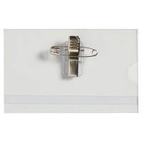 LYRECO BUDGET PIN/CLIP BADGES 55 X 90MM - BOX OF 50