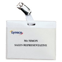 LYRECO BUDGET CLIP BADGES 60x90MM - LANDSCAPE - BOX OF 30