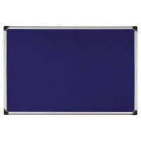ALUMINIUM FRAMED FABRIC NOTICE BOARD 600MM X 900MM - BLUE