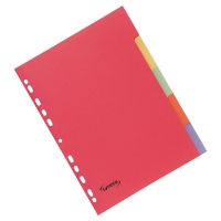 LYRECO ASSORTED BRIGHT COLOUR A4 5 PART DIVIDERS 240GSM