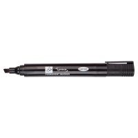 LYRECO CHISEL TIP BLACK PERMANENT MARKERS - BOX OF 10