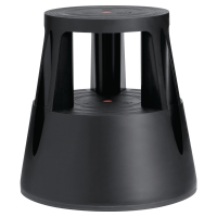 TWIN STEP BLACK MOBILE STOOL - HEIGHT 430MM