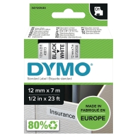 DYMO D1 LABELLING TAPE 7M X 12MM - BLACK ON WHITE