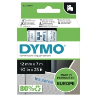 DYMO D1 LABELLING TAPE 7M X 12MM - BLUE ON WHITE