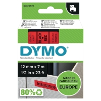 DYMO D1 LABELLING TAPE 7M X 12MM - BLACK ON RED