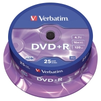 VERBATIM DVD+R 4.7GB 1 - 16X SPINDLE OF 25
