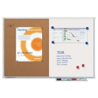 LEGAMASTER COMBI-BOARD HALF CORK/HALF WHITEBOARD - 600 X 900MM