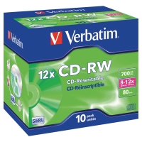 VERBATIM CD-RW 80MIN 700MB 8 - 12X - PACK OF 10