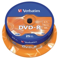 VERBATIM DVD-R 4.7GB 120MIN SPINDLE OF 25
