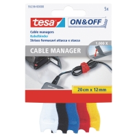 TESA 55236 ON & OFF VELCRO CABLE MANAGER ASSORTED COLOURED - PACK OF 5