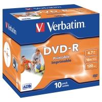 BX10 VERBATIM DVD-R PRINTABLE JEWEL CASE
