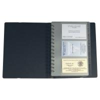 EXACTIVE EXACARD BUSINESS CARD HOLDER, 20X14.5CM, 120 CARDS, 20 SHEETS - BLACK