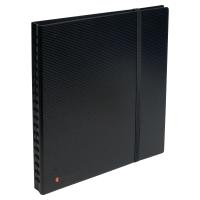 EXACTIVE EXACARD BUSINESS CARD HOLDER, 26.5X25CM, 320 CARDS, 20 SHEETS - BLACK