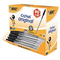 BIC CRISTAL MEDIUM BALL POINT PEN BLACK - BOX OF 90 PLUS 10 FREE PENS