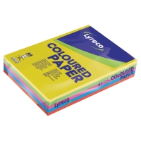 LYRECO INTENSE COLOURS PAPER A4 80GSM ASSORTED COLOURS - REAM OF 500 SHEETS
