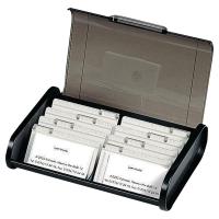 EXACOMPTA OFFICE BUSINESS CARD CASSETTE, 180X245X60MM - BLACK/GREY TRANSLUCENT