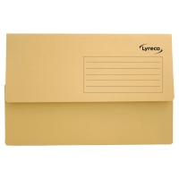 LYRECO YELLOW FOOLSCAP DOCUMENT WALLETS 290GSM 32MM CAPACITY - BOX OF 50