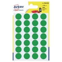 PK168 AVERY PSA15V DOT LABELS DIA15MM GREEN
