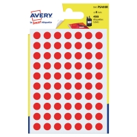 PACK 490 AVERY PSA08R DOT LABELS DIA8MM RED