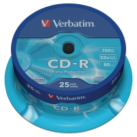 PK25 VERBATIM CD-R 80 MINUTE 700MB SPINDLE