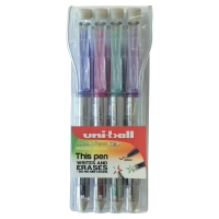UNIBALL SIGNO TSI ASSORTED COLOURS 0.7MM ERASABLE GEL PEN - WALLET OF 4