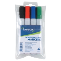 LYRECO CHISEL TIP ASSORTED COLOUR WHITEBOARD MARKERS - WALLET OF 4