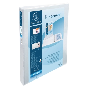 KREACOVER PP RING BINDER, 32X26.8CM, 4 D-RINGS, 38MM SPINE/16MM RING CAP - WHITE