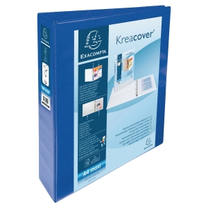 KREACOVER PP RING BINDER, 32X28CM, 4 D-RINGS, 64MM SPINE/40MM RING CAP -  BLUE