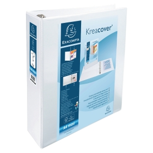 KREACOVER PP RING BINDER, 32X29.7CM, 4 D-RINGS, 90MM SPINE/60MM RING CAP - WHITE