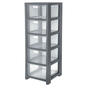 GREY CRISTAL 5 DRAWER STORAGE TOWER