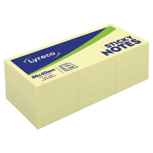 LYRECO PLAIN YELLOW STICKY NOTES 51 X 38MM - PACK OF 12 PADS