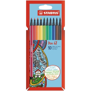 STABILO 68 FIBRE TIP PENS ASSORTED WALLET OF 10