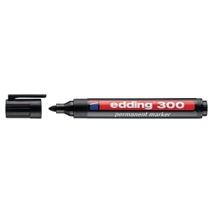 EDDING 300 PERMANENT MARKER BULLET TIP BLACK - BOX OF 10