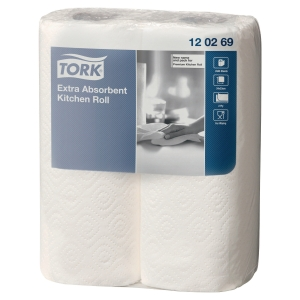 TORK PREMIUM WHITE 2 PLY KITCHEN ROLL - PACK OF 2