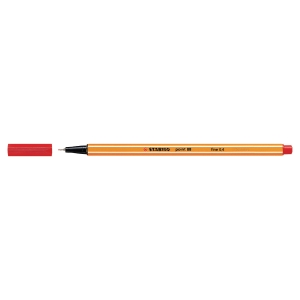 STABILO POINT 88 FINELINER RED PENS 0.4MM LINE WIDTH - BOX OF 10