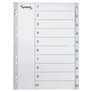 LYRECO GREY A4 POLYPROPYLENE 1-10 INDEXES - PACK OF 10 SETS