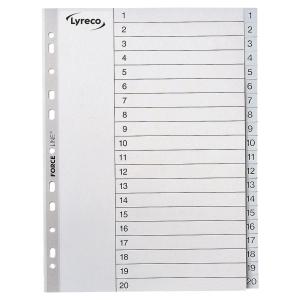 LYRECO GREY A4 POLYPROPYLENE 1-20 INDEXES - PACK OF 10 SETS
