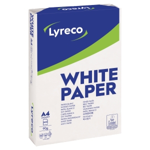 LYRECO WHITE A4 PAPER 90GSM - BOX OF 5 REAMS (5 X 500 SHEETS OF PAPER)