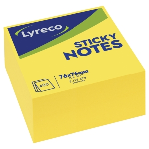 LYRECO BRIGHT YELLOW PAPER CUBE 75 X 75MM - 400 NOTES
