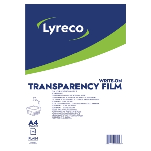 LYRECO A4 PLAIN WRITE-ON TRANSPARENCY FILM - BOX OF 100 SHEETS