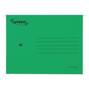 LYRECO PREMIUM GREEN A4 SUSPENSION FILES V BASE - BOX OF 25