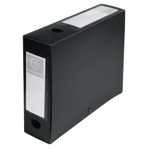 EXACOMPTA PRESS STUD FILING BOX, 25X33CM, 80MM SPINE, A4 - BLACK