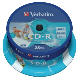 VERBATIM CD-R PRINTABLE 80 MINUTE 700MB - SPINDLE OF 25