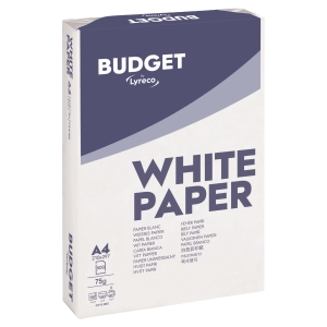 LYRECO BUDGET COPIER PAPER 75G A4 WHITE - BOX OF 5 REAMS (2500 SHEETS)