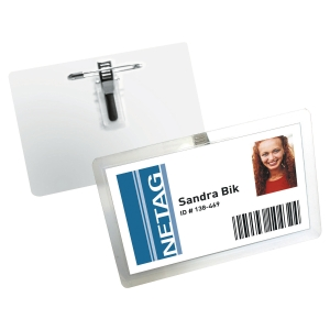 DURABLE SELF LAMINATING BADGE WITH COMBI-CLIP 54X90MM - PACK OF 25