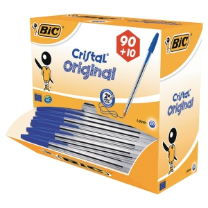 BIC CRISTAL MEDIUM BALL POINT PEN BLUE - BOX OF 90 PLUS 10 FREE PENS